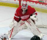 Jonas Gustavsson gets set at the edge of his crease during the Red and White Game.