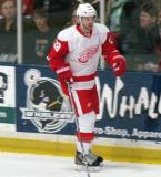 Carlo Colaiacovo skates back to the bench for a line change during the Red and White Game.