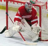 Jonas Gustavsson slides over to the post during the Red and White Game.