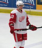 Adam Almquist waits at the blue line for a faceoff during the Red and White Game.