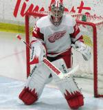 Jimmy Howard gets set in his crease during the Red and White Game.