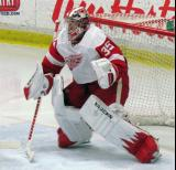 Jimmy Howard sets up in his crease during the Red and White Game.