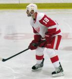 Ian White gets set for a faceoff during the Red and White Game.