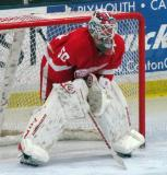 Jonas Gustavsson crouches in his crease during the Red and White Game.