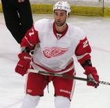 Kyle Quincey watches the play develop during the Red and White Game.