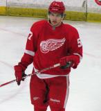 Mitch Callahan skates off the bench during a stop in play in the Red and White Game.