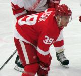 Jan Mursak lines up for a faceoff during the Red and White Game.