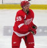 Niklas Kronwall skates through the neutral zone during the Red and White Game.