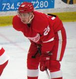Tomas Jurco gets set for a faceoff during the Red and White Game.