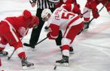 Valtteri Filppula wins a faceoff during the Red and White Game.