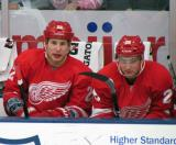 Jordin Tootoo and Tomas Jurco sit on the bench during the Red and White Game.