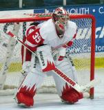 Jimmy Howard crouches in his crease during the Red and White Game.