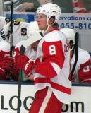 Justin Abdelkader stands at the bench during a stop in play in the Red and White Game.