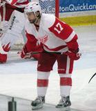 Patrick Eaves gets set for a faceoff during the Red and White Game.