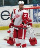 Kyle Quincey glances over his shoulder before a faceoff during the Red and White Game.