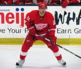 Tomas Tatar watches the devloping play during the Red and White Game.