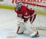 Jonas Gustavsson waits in his crease during the Red and White Game.