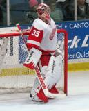 Jimmy Howard stands in his crease during the Red and White Game.