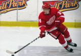 Damien Brunner turns with the puck during the Red and White Game.