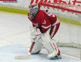Jonas Gustavsson sets up in his crease during the Red and White Game.
