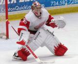 Jimmy Howard sets up to face a shootout attempt during the Red and White Game.