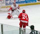 Jimmy Howard comes out of his crease to face Damien Brunner's shootout attempt during the Red and White Game.