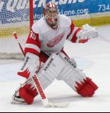 Jimmy Howard comes out to face down a shootout chance during the Red and White Game.