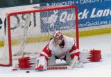 Jimmy Howard goes into the splits to stop a shootout attempt during the Red and White Game.
