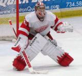 Jimmy Howard faces down a shootout chance during the Red and White Game.