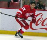 Jordin Tootoo skates along the boards during pre-game warmps.
