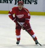 Justin Abdelkader looks for a pass during pre-game warmps.