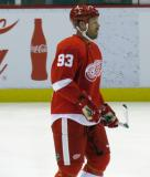 Johan Franzen stands around during pre-game warmps.