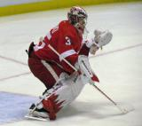 Jimmy Howard comes out to the top of his crease during pre-game warmps.