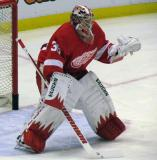 Jimmy Howard comes out to face a shot during pre-game warmps.