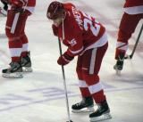 Cory Emmerton stickhandles at center ice during pre-game warmps.