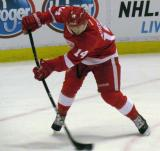 Gustav Nyquist lifts a shot on net during pre-game warmps.