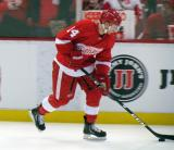 Gustav Nyquist skates with the puck during pre-game warmps.