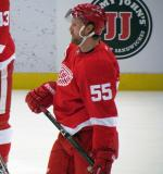 Niklas Kronwall stands in the neutral zone during pre-game warmps.