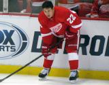 Jordin Tootoo crouches along the boards during pre-game warmps.