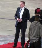 Tomas Holmstrom stands on the red carpet prior to a ceremonial puck-drop on the day of his retirement.