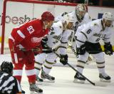 Johan Franzen lines up for a faceoff with Eric Nystrom, Trevor Daley and Kari Lehtonen on the Dallas Stars' side.
