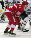 Gustav Nyquist lines up for a faceoff.
