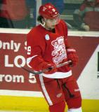 Francis Pare skates during pre-game warmups before a Grand Rapids Griffins game.