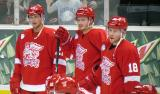 Tomas Tatar, Gustav Nyquist and Joakim Andersson stand together during pre-game warmups before a Grand Rapids Griffins game.