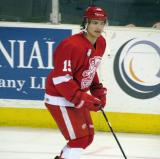 Mitch Callahan skates near the boards during pre-game warmups before a Grand Rapids Griffins game.