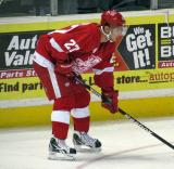 Tomas Tatar gets set for a faceoff during a Grand Rapids Griffins game.