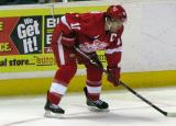 Jeff Hoggan gets set for a faceoff during a Grand Rapids Griffins game.