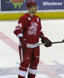 Brennan Evans stands at center ice during a stop in play in a Grand Rapids Griffins game.