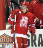 Adam Almquist stands at the bench during a stop in play in a Grand Rapids Griffins game.