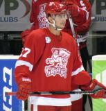 Tomas Tatar stands at the bench during a stop in play in a Grand Rapids Griffins game.